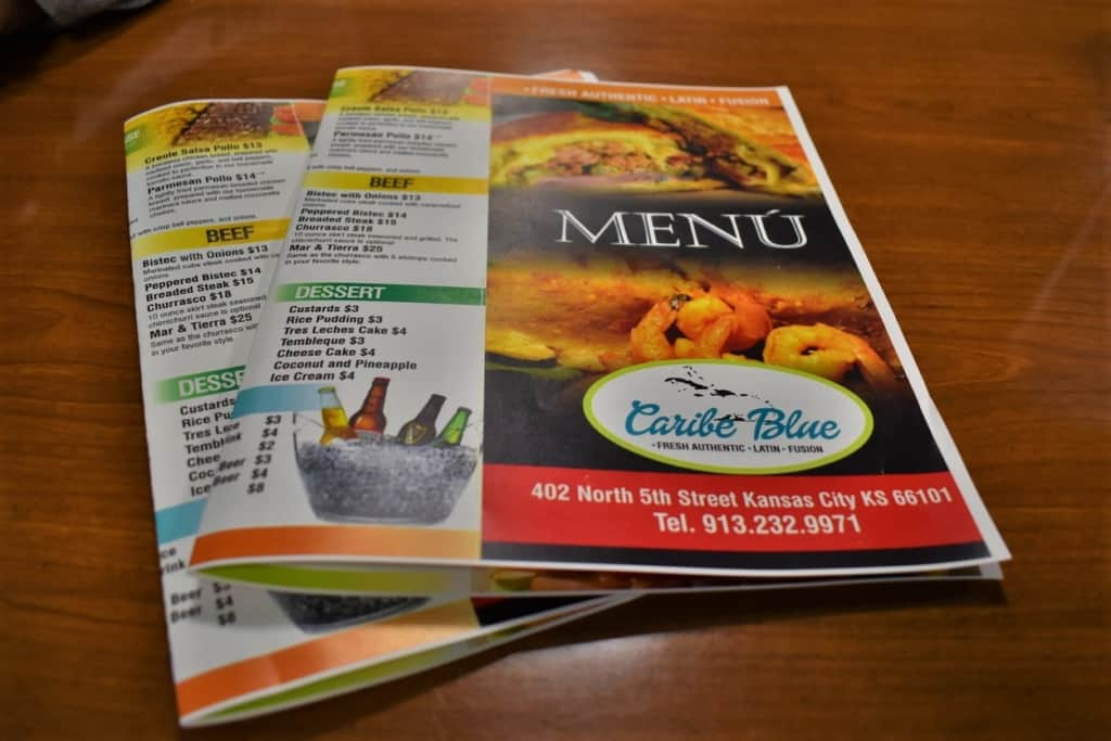 The menus at Caribe Blue hint at the delicious dishes to be found during a dinner visit.