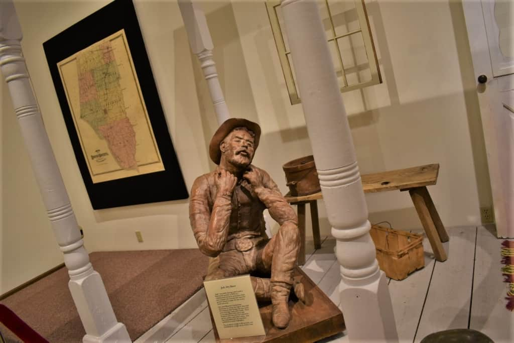 A statue decorates an exhibit on the history of Boone County.