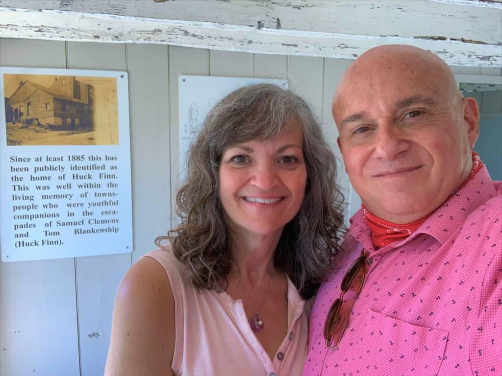 The authors pose for a selfie at Huck Finn's home.