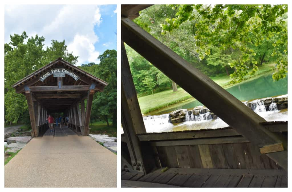 A covered bridge adds a level of nostalgia to a hike through Dogwood Canyon Nature Park.