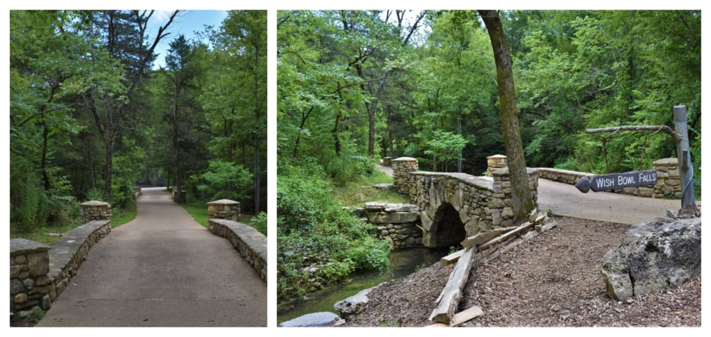 The wide paved path makes it easy to get around Dogwood Canyon.