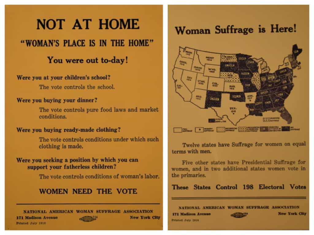 Some informational placards were used to help drive the push to allow women to vote.
