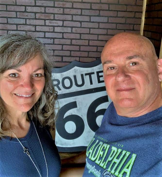 The authors enjoy a short break from a Route 66 road trip.