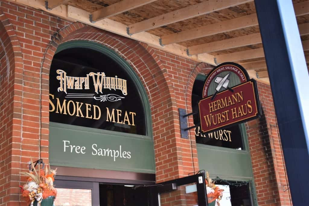 A sign touting free samples is a welcome sight in a town filled with wine and wurst.