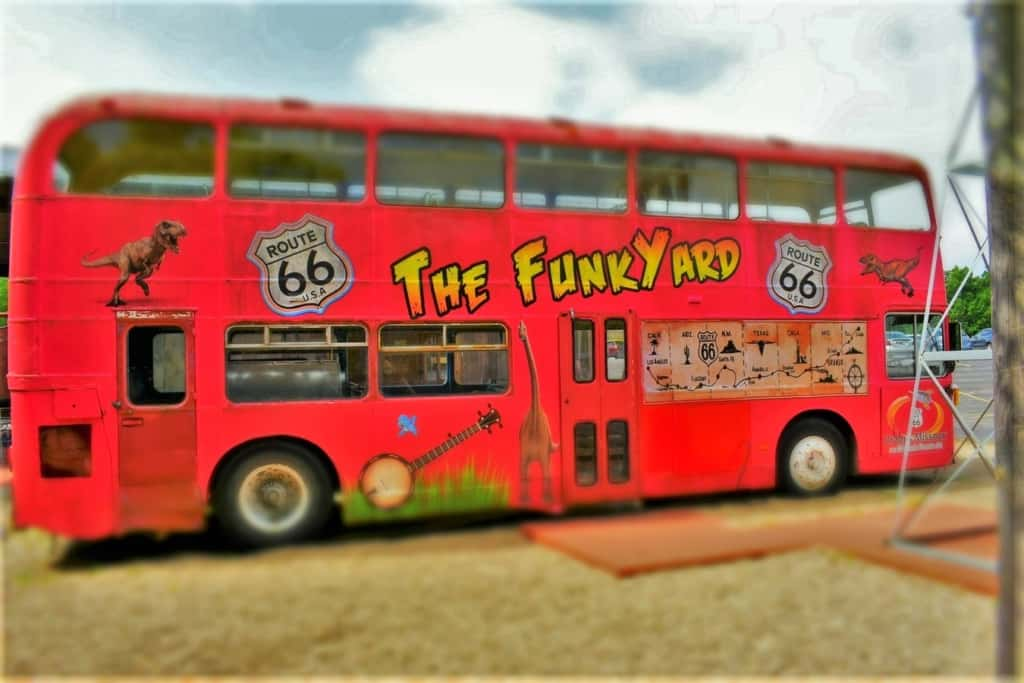 The FunkYard bus touts a map of the Mother Road that made auto exploration popular.
