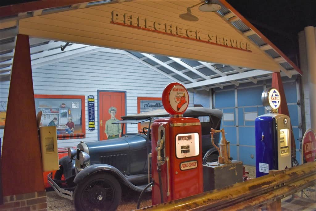 A replica of an old filling station holds lots of nostalgia for visitors to the Route 66 Museum.
