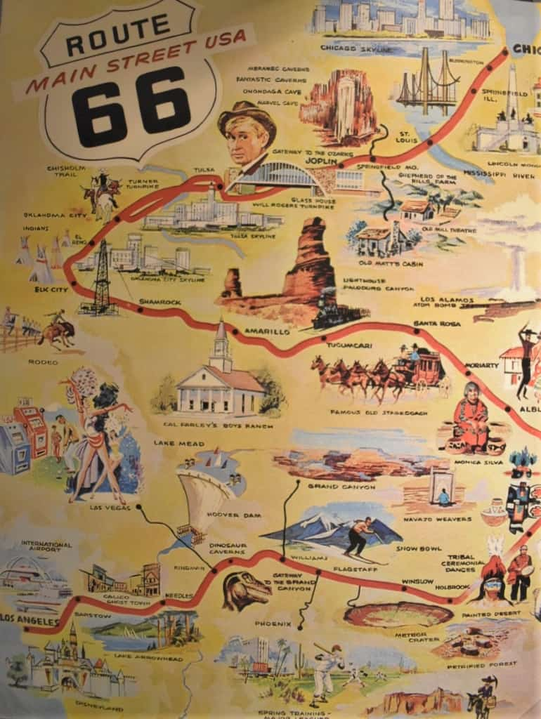 A poster highlights some of the marvelous attractions that made traveling Route 66 an adventure.