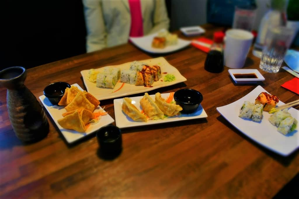 Our table was filled with fan favorite dishes that all are available on the Happy Hour menu at Sushi Karma.