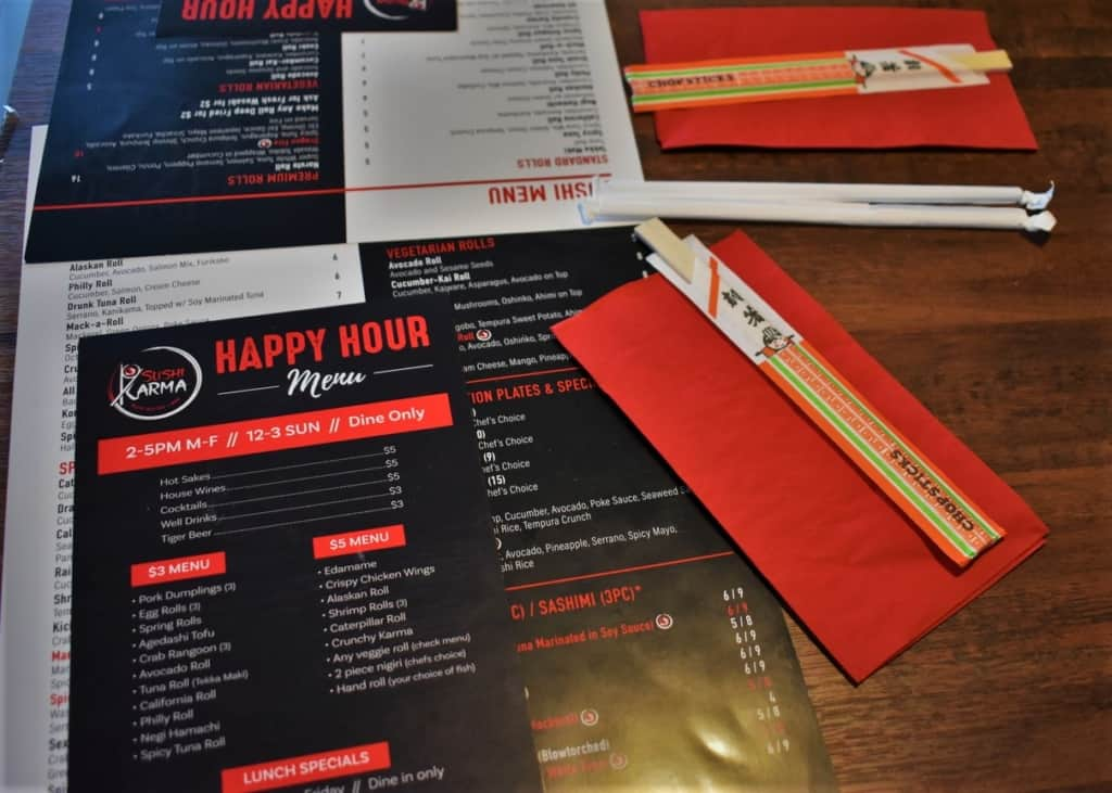 Sushi Karma has a robust Happy Hour menu that offers plenty for a wonderful dinner.