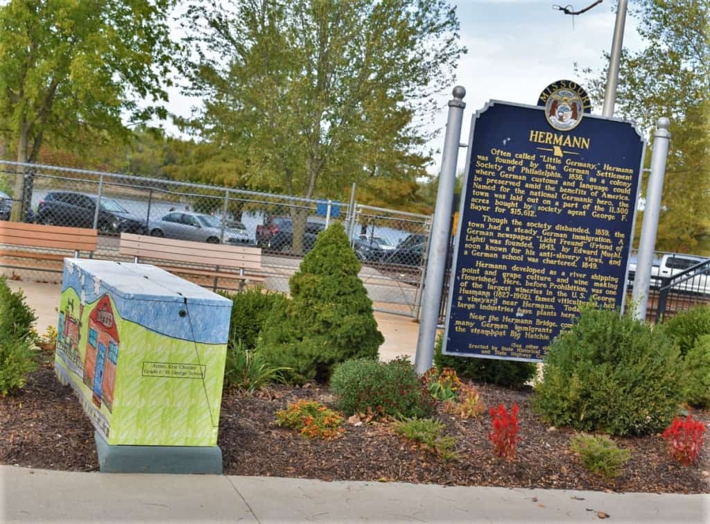 A sign tells some of the immigrant history of Hermann's past.