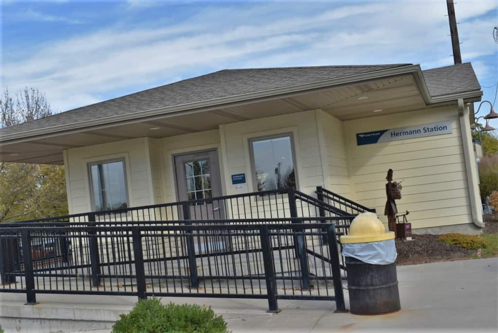 The Hermann Amtrak Station is small but useful for those traveling by train.