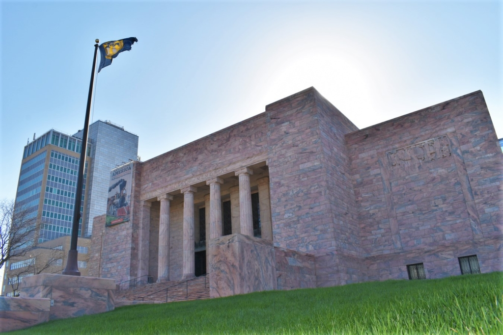 The huge marble building tells visitors that they have arrived at the Joslyn Art museum in Omaha, Nebraska.