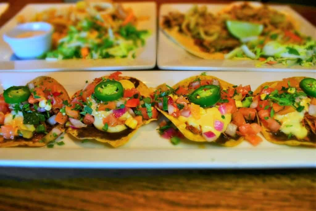 These Chicken Nachos brought pops of color to our muted table.