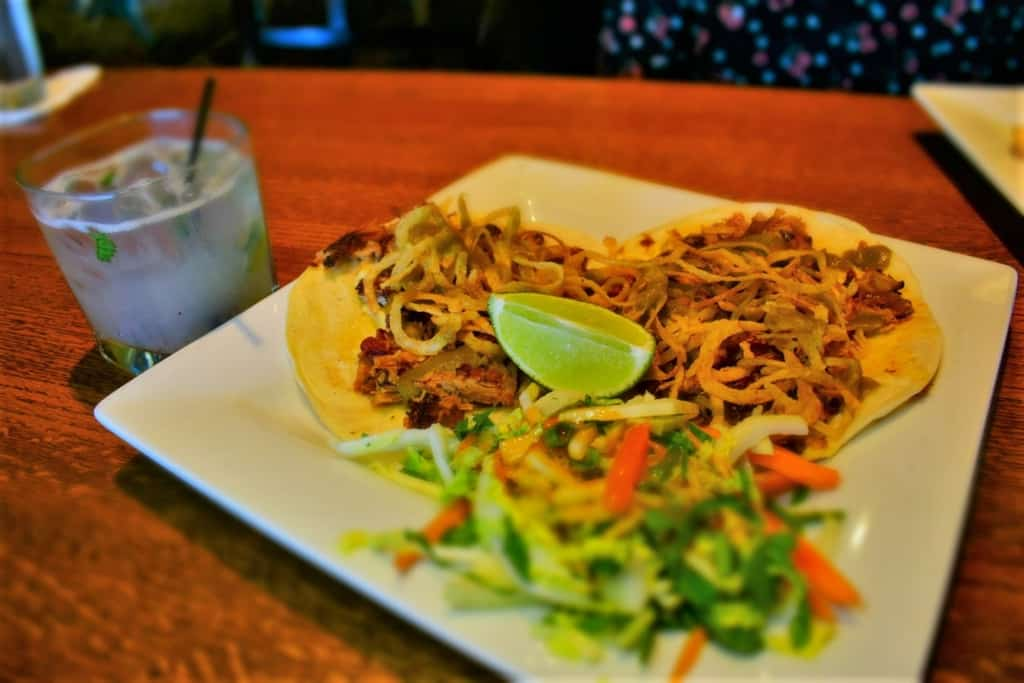 The Pulled Pork Tacos were filled with flavorful meat and crispy onions.