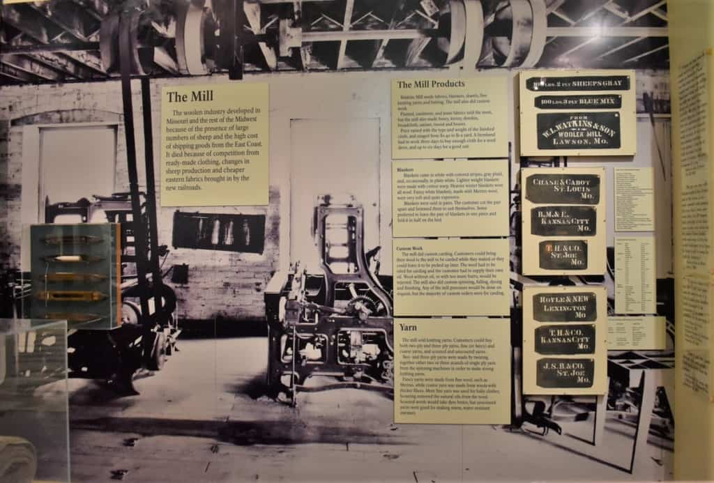 Story boards are used to supply information to visitors about the woolen mills operations.