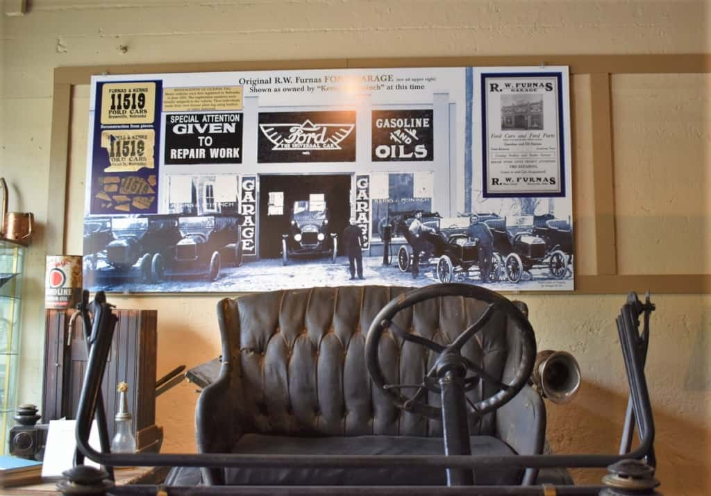 A sign in the Wheel Museum shows how the original structure was purposed as an auto repair shop.