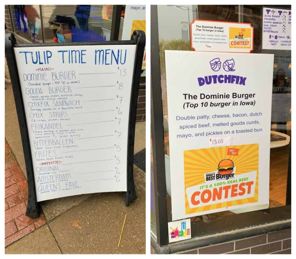 An outdoor menu helped us prepare for our order at Dutch Fix.
