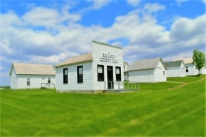 Rows of historic building grace the landscape at Nelson Pioneer Farm.