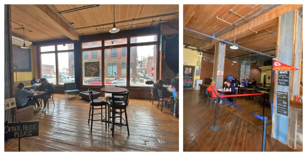 The interior space is a welcoming mix of old warehouse and eclectic seating.