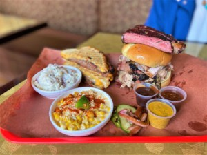 A tempting tray of barbecue dishes can be found each weekend at Chef J BBQ.