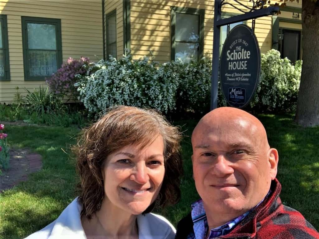 The authors enjoy selfie time during a visit to the Scholte House Museum.