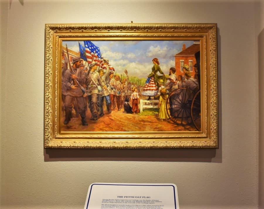 A petticoat made from an American flag welcomed the Union soldiers in Carthage.