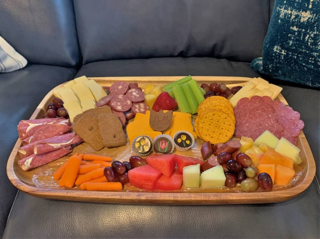 Our board was a collection of foods we found during our charcuterie trail excursion.