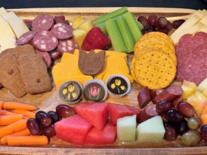 Our board contained the treats we found during our charcuterie trail adventure.