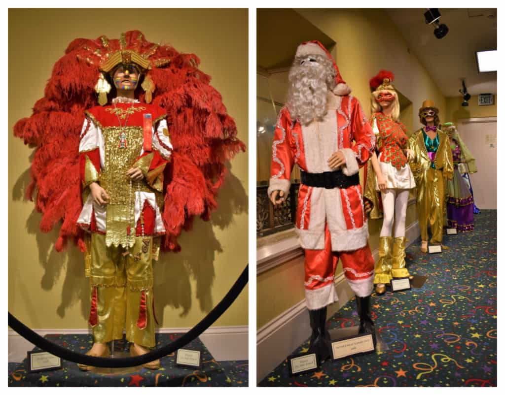 The elaborate costumes worn by parade participants are on display at the Mobile Carnival Museum.