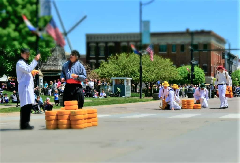 At the Tulip Time Festival we watched the demonstration of the Dutch cheese market.