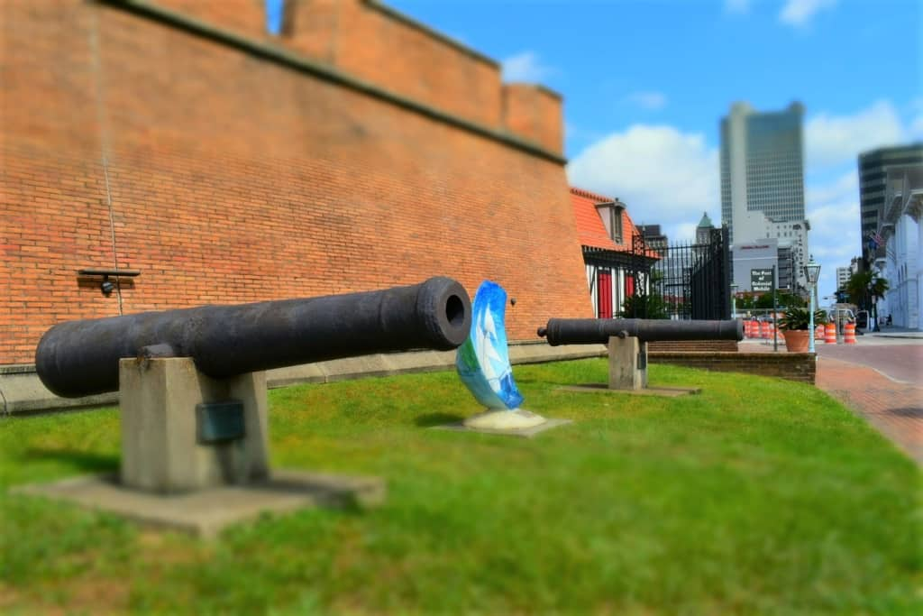 Old cannons sit silent outside the walls of Fort Conde.