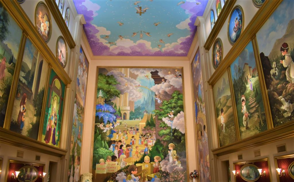 The intricately decorated chapel is filled with hand-painted artwork.