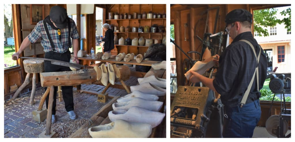 Traditional Dutch wooden shoe making is shown to visitors at the Pella History Village.
