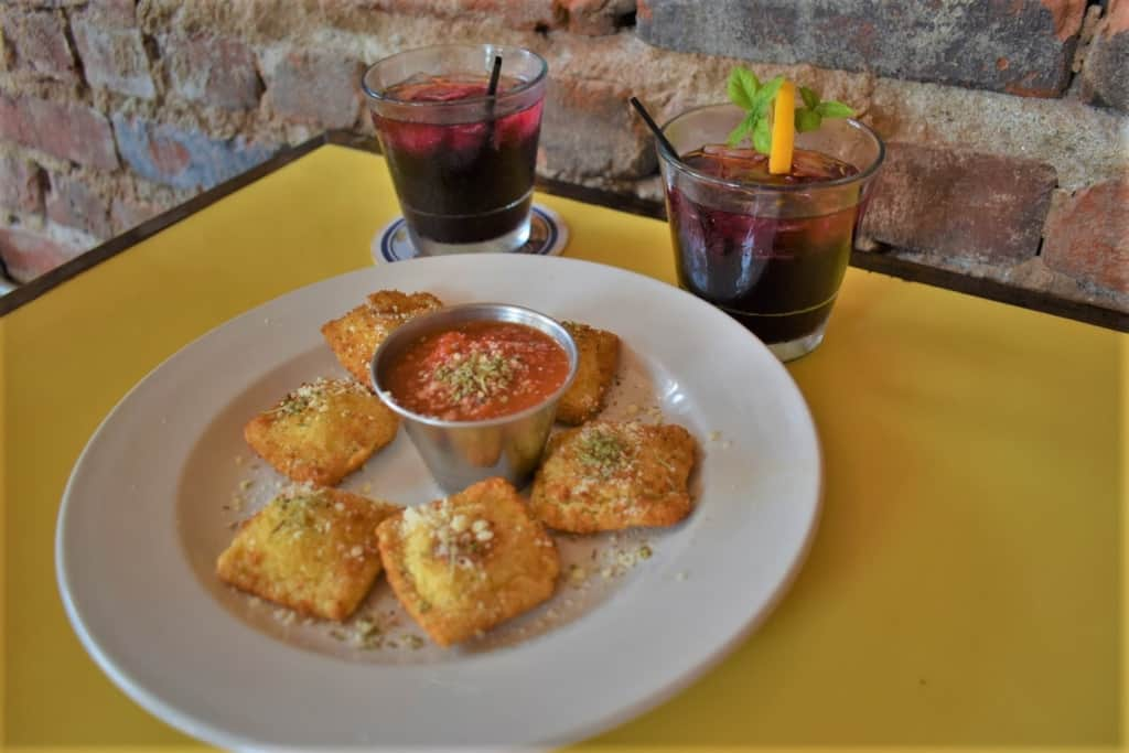 Toasted ravioli goes well with some sangria and conversation during a hometown happy hour.