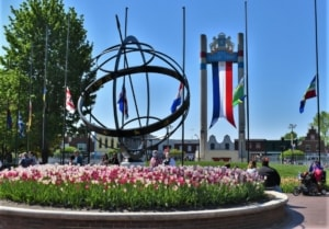 The Tulip Toren adds a magnificent backdrop to the blooming tulips in Pella, Iowa.