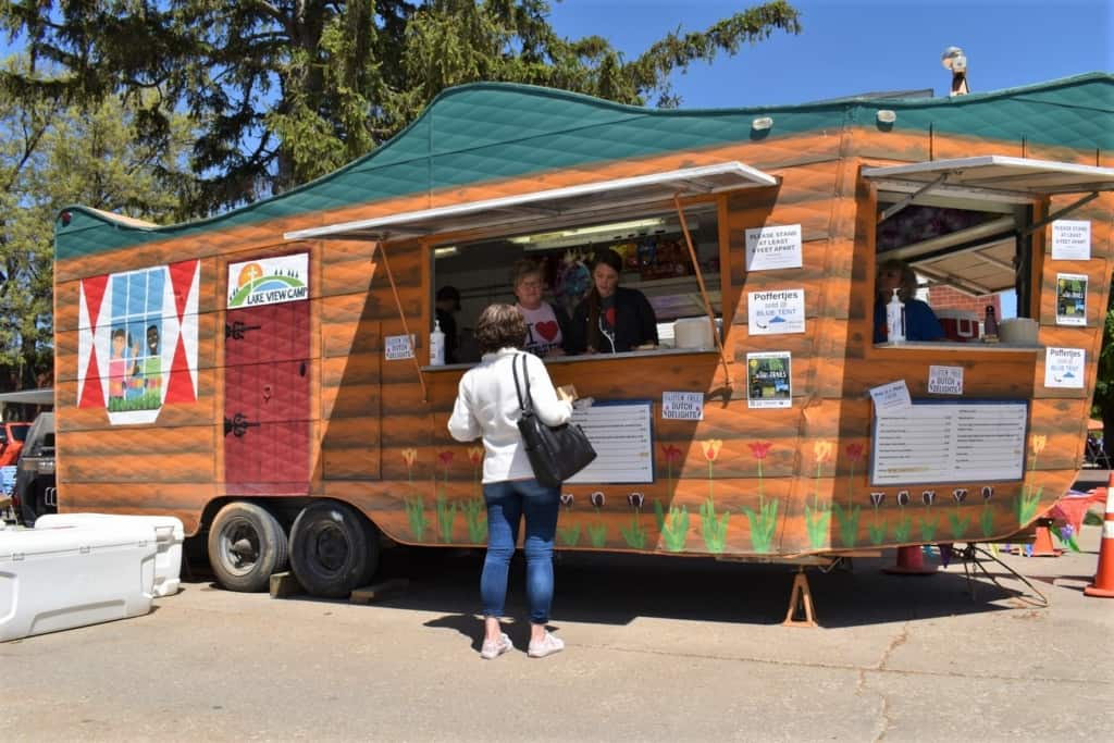 The author visits a food truck during the Tulip Time festival in Pella.