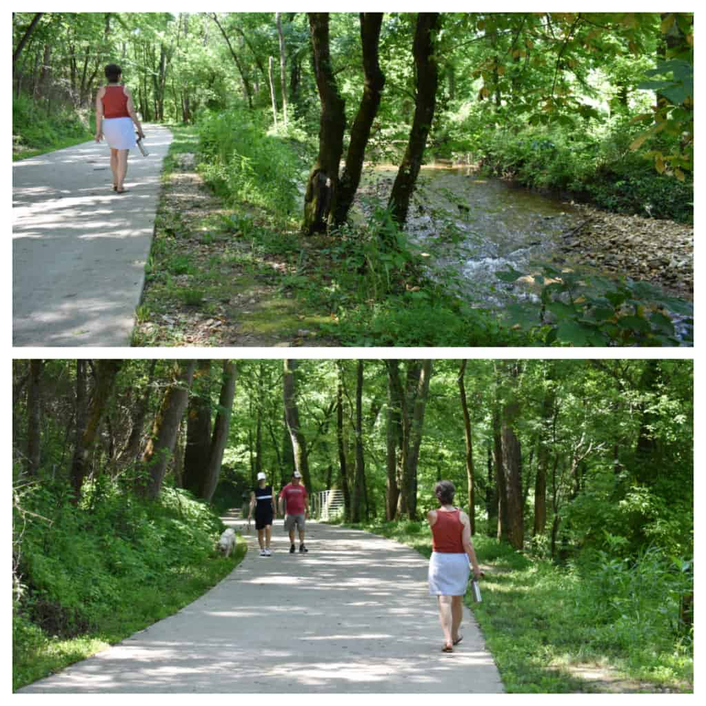 The shady path is an exercise diversion during a nature break at Coler Mountain Bike Preserve.
