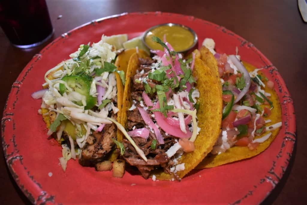 A trio of tacos brought a wide range of flavors to our taste buds.