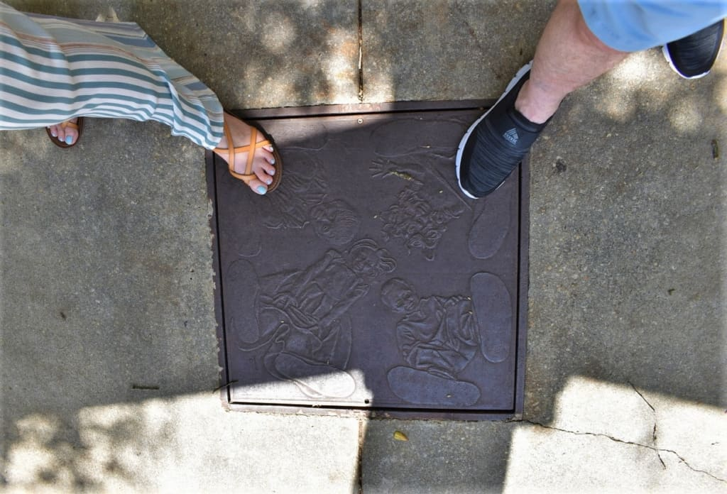 The authors put their feet on the ground for some exploring in downtown Mobile, Alabama.