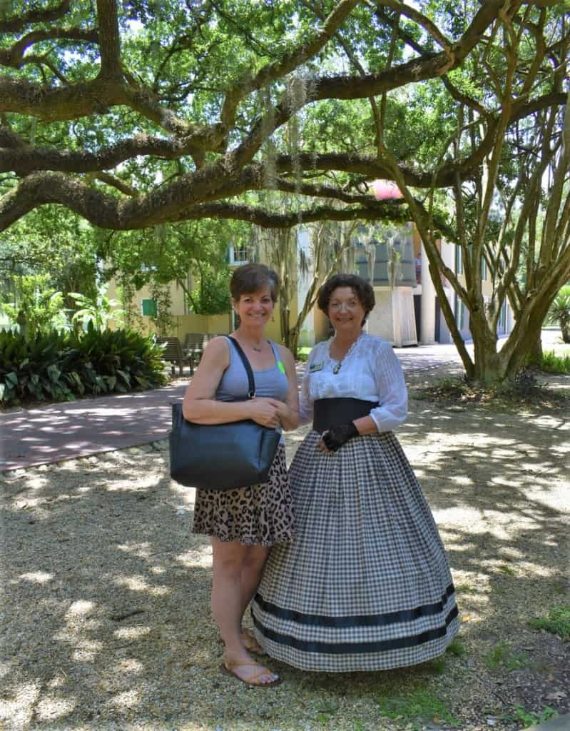 The author poses with a tour guide at Destrahan Plantation.