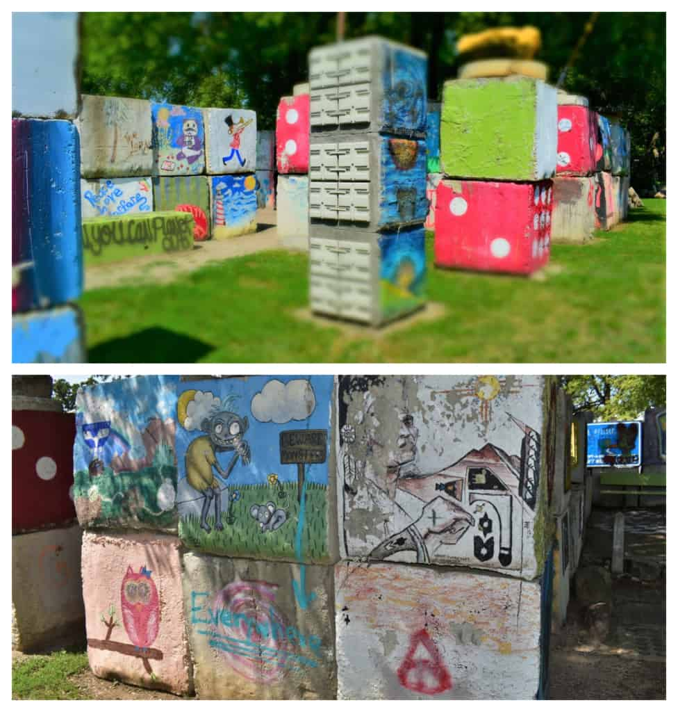 Stacked concrete blocks formed a makeshift maze covered with unusual artwork.